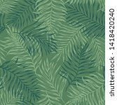 tropical palm leaves in green...   Shutterstock .eps vector #1418420240