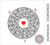 Stock photo black round maze game for kids children s puzzle many entrances one exit labyrinth conundrum 1418424623
