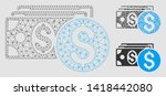 mesh dollar cash model with... | Shutterstock .eps vector #1418442080