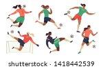women's football soccer players ... | Shutterstock .eps vector #1418442539