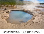 Hot Spring and Steam in Thermal Basin in the Norris Geyser Basin in Yellowstone National Park in Wyoming