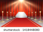 red event carpet  gold barriers ... | Shutterstock .eps vector #1418448080