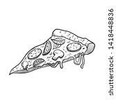 pizza slice drawn illustration... | Shutterstock .eps vector #1418448836