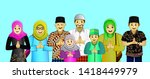 indonesian big family who say... | Shutterstock . vector #1418449979