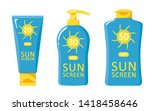 bottles icons with sunscreen.... | Shutterstock .eps vector #1418458646