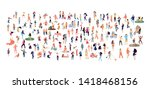 crowd of flat illustrated... | Shutterstock .eps vector #1418468156