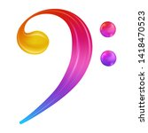 Rainbow Bass Clef Musical Note ....