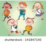 illustration of kids walking... | Shutterstock .eps vector #141847150