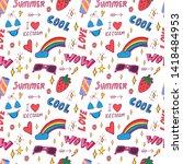 summer pop art seamless pattern ... | Shutterstock .eps vector #1418484953