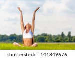 young woman practicing yoga... | Shutterstock . vector #141849676