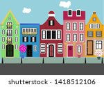 set of houses. street. outdoors.... | Shutterstock .eps vector #1418512106