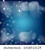 blue realistic snowfall  vector.... | Shutterstock .eps vector #1418513129