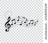 music notes and symbols with... | Shutterstock .eps vector #1418550149