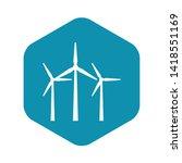 wind turbines in simple style... | Shutterstock .eps vector #1418551169