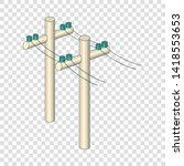 poles with wires icon. cartoon... | Shutterstock .eps vector #1418553653