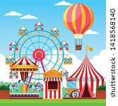 fair festival with fun... | Shutterstock .eps vector #1418568140