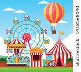 fair festival with fun... | Shutterstock .eps vector #1418568140