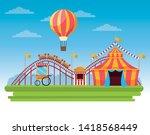 circus fair festival scenery... | Shutterstock .eps vector #1418568449