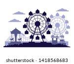 circus festival fair scenery... | Shutterstock .eps vector #1418568683
