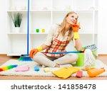 young housewife took a break... | Shutterstock . vector #141858478