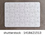 white complete jigsaw puzzle... | Shutterstock . vector #1418621513