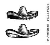 mexican sombrero in tattoo... | Shutterstock .eps vector #1418654396