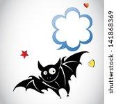 cartoon vector black bat with...   Shutterstock .eps vector #141868369