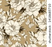 seamless floral pattern with... | Shutterstock . vector #1418685710