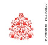 beautiful floral ethnic red...   Shutterstock .eps vector #1418705630