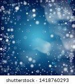realistic vector snowfall on... | Shutterstock .eps vector #1418760293