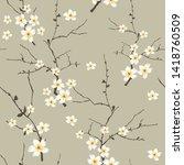 yellow small vector flowers... | Shutterstock .eps vector #1418760509