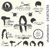 vector set  hair salon labels... | Shutterstock .eps vector #141876256