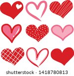 hand drawn hearts. design... | Shutterstock .eps vector #1418780813