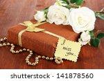 Romantic Parcel On Wooden...