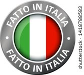 made in italy flag metal icon  | Shutterstock .eps vector #1418788583