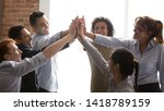 overjoyed multi racial... | Shutterstock . vector #1418789159