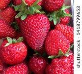 macro photo of strawberry berry ... | Shutterstock . vector #1418799653