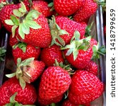 macro photo of strawberry berry ... | Shutterstock . vector #1418799659