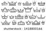 hand drawn crown. luxury crowns ... | Shutterstock .eps vector #1418800166