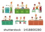 cooks childrens. kids baking or ... | Shutterstock .eps vector #1418800280
