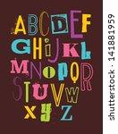 whimsical alphabet design.... | Shutterstock .eps vector #141881959