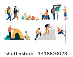 a set of isolated people in... | Shutterstock .eps vector #1418820023