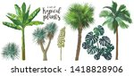 a set of tropical bananas palm... | Shutterstock .eps vector #1418828906