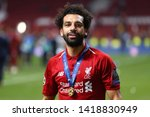 mohamed salah of liverpool with ... | Shutterstock . vector #1418830949
