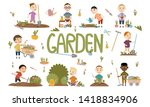 set different boy gardening... | Shutterstock .eps vector #1418834906