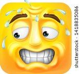 a sweating worried scared emoji ...   Shutterstock .eps vector #1418835086