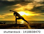 abstrac.silhouette yoga... | Shutterstock . vector #1418838470