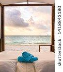 sunset luxury beach canopy at... | Shutterstock . vector #1418843180