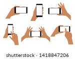 set of hands with smartphone... | Shutterstock .eps vector #1418847206