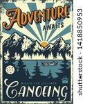 vintage summer adventure... | Shutterstock .eps vector #1418850953